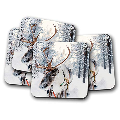 4 Set - Lapland Reindeer Coaster - Christmas Festive Snow Finland Gift #16651