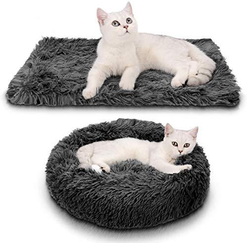 Queta Cama para Mascotas, con una Alfombra Suave para Mascotas, Cama Redondo para Gatos Perros, Cama Suave de Felpa de tamaño Mediano (Cama 60 CM/Alfombra 56 * 36CM) (Gris Oscuro)