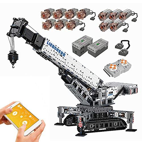 J-Clock Technic Crane Kit construcción, 2.4Ghz/Bluetooth App Control Remoto Crawler Crane con Motor, Modelo grúa Liebherr 11200, Bloque construcción 4000 Piezas Compatible con Lego Technic