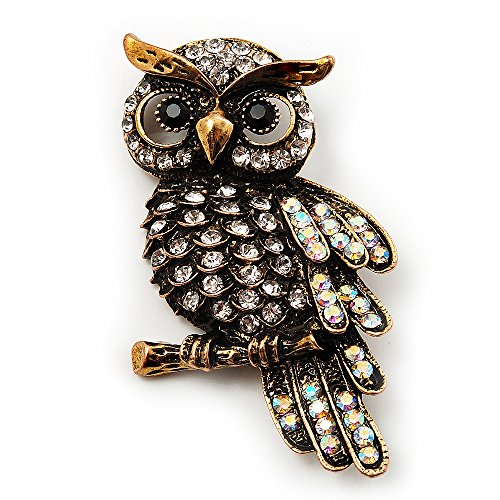 Avalaya Antique Gold Crystal Owl Brooch
