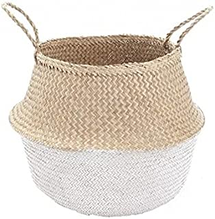 MEDIUM Natural and White Dipped Seagrass Belly Basket Panier Boule Storage Nursery Toy Laundry Easter