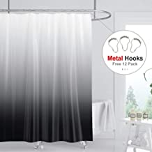 Riyidecor Ombre Black and Gray Shower Curtain 72x84 inch Free Metal Hooks 12-Pack Extra Long Heavy Duty Simple Modern Decor Fabric Set Polyester Waterproof Bathroom