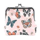 Monedero de piel sintética con diseño de mariposas, color rosa, estilo vintage, para mujeres, niñas, adolescentes y niños