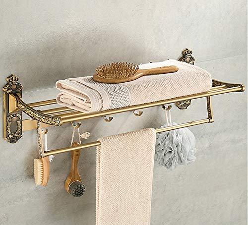 Plantex Antique Aluminum Folding Towel Rack for Bathroom/Folding Towel Stand/Hanger/Bathroom Accessories (24 Inch)