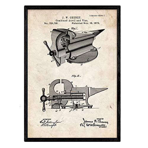Nacnic Poster con patente de Yunque con garra. Lámina con diseño de patente...