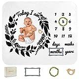 Ellie Quinn - Baby Monthly Milestone Memory Blanket for Newborn Babies: Baby Boy, Baby Girl, Unisex | Premium Super Soft Fleece | Month Blanket | Wreath Design | Gift Box | Includes 3 Props