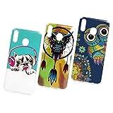 M20 – Carcasa compatible para Samsung Galaxy M20, funda de silicona fina, patrón de colores, funda para móvil para niña, carcasa suave, carcasa de TPU, carcasa para teléfono móvil * 3 tapas Set 2