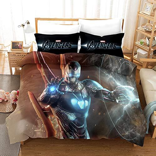 GDGM Marvel Juego de ropa de cama, diseño de Los Vengadores-s, ropa de cama de 2 piezas, funda nórdica y funda de almohada, 135 x 200 cm, Spider Man, ropa de cama juvenil, 7, 200 x 200 cm