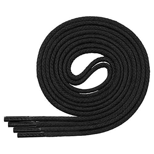 Lenzen 3 Paar gewachste Baumwollschnürsenkel für Anzug und Leder Schuhe I Dünne, runde und elegante Schnürsenkel (75 cm, Schwarz)