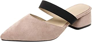 TAOFFEN Women Fashion Mid Heel Mules Closed Toe