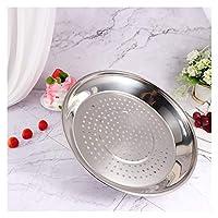 穴の厚い蒸し器の棚の厚い1ピーのステンレス鋼の蒸し皿食品プレート調理器具(30 / 34cm wok) (色 : For 34cm Wok)