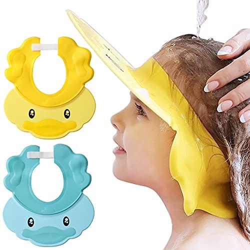 Joycabin 2pcs Gorro de Ducha Bebé, Gorra de Ducha de Silicona Suave de Dibujos Animados, visera ajustable para baño de bebé, Protege Los ojos y las orejas para Niños(Azul + amarillo)