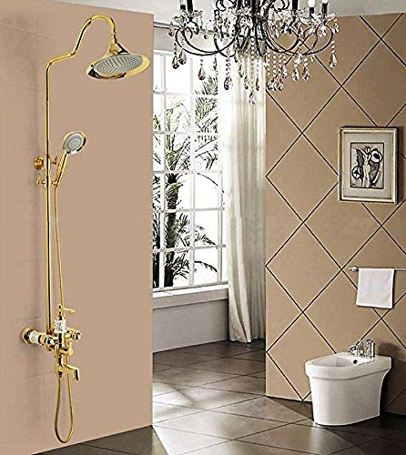 Upscale Golden Douche Set Douche Set Koper Ronde Antieke Douche Set Thermostaat Douche Systeem Badkamer Douche Systeem