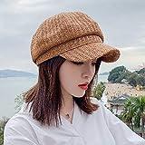 TUOLUO Primavera Y Verano Mujeres Sombreros De Verano De Paja Color Sólido Sombrero Octogonal Boinas De Pintor De Estilo Rural Visera Femenina Gorro De Sol Capó Marrón