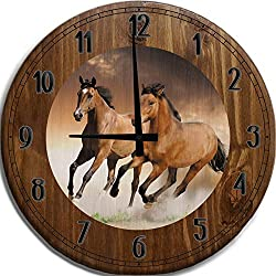 Wall Clock Large Galluping Brown & Tan Horses Bar Sign Home Decor Brown 18 inch Wall Decor