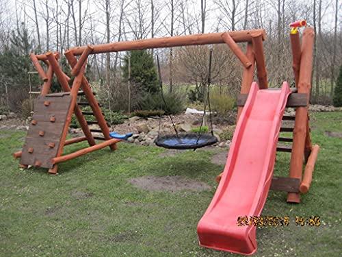 PREMIUM Holz Spielturm mit Kletterturm 2x Schaukel 1x Rutsche Garten Spielhaus OSKAR 1
