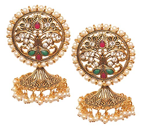 Pahal Traditional Red Green Kundan Round Big Oxidized Gold Jhumka Earrings Peacock Indian White Pearl Bollywood Jewelry for Women