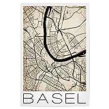 artboxONE Poster 30x20 cm Städte Basel Switzerland Map
