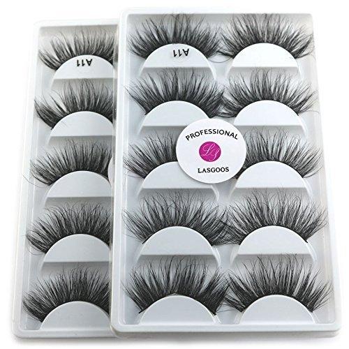 3D Mink False Eyelashes LASGOOS 100% Siberian Mink Luxurious Fluffy Volume Messy Cross Light Weight Long 5 Pairs Fake Eye Lashes A11