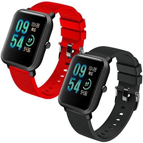 Th-some Correa para Amazfit Bip Impermeable Universal - 2 Pcs Reemplazo de Pulsera Ajustable para Xiaomi Huami Amazfit Bip bit Lite Youth/Amazfit GTR 42mm Watch, Negro Rojo Sin Tracker