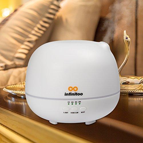 Diffusore di aromi | infinitoo diffusore di aromi ad ultrasuoni | Chiusura automatica | umidificatore a olio di aromi con 4 modalità di regolazione del tempo e 7 colore di DEL (500ml)