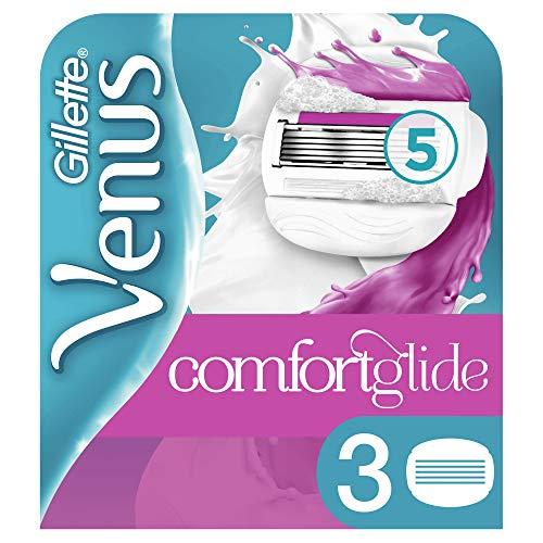 Gillette Venus ComfortGlide Sugarberry Rasierklingen Damen mit Rasiergelkissen für Hautschutz, 3 Ersatzklingen