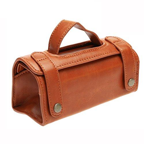 Sac de voyage Étui pochette type de Blaireau & Rasoir Trousse de toilette portable Voyage en cuir marron