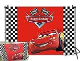 BINQOO 2,1 x 1,5 m telón de fondo para carreras de coches de dibujos animados, bandera de carreras, color negro, blanco y rojo, fondos para fotografía, decoración de fiesta de cumpleaños