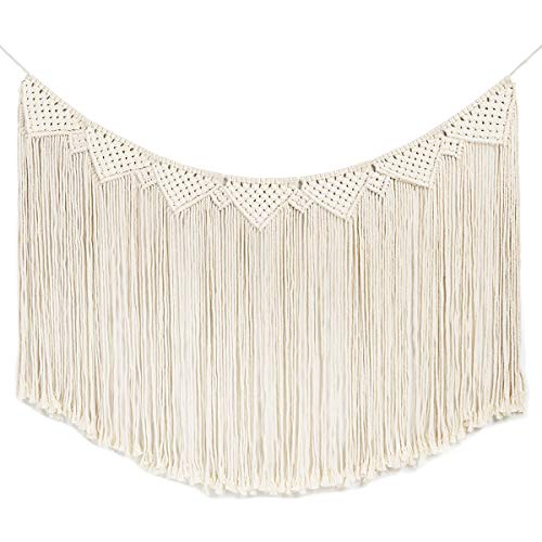 """Macrame Woven Wall Hanging Curtain Fringe Banner - Boho Chic Wall Decor - Apartment Dorm Living Room Bedroom Nursery Art, Party Decoration, 48"""" L x 28"""" W"""