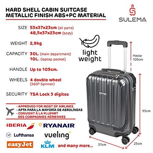 Valigia Bagaglio a Mano Tasca porta PC Trolley Cabina Bagaglio Rigido e Leggero 4 Ruote Doppie Giro 360º Lucchetto TSA Sulema (Grigio)