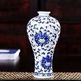 Rosepoem Jarrón de Flores de Porcelana, Azul Antiguo y Floral Oriental, jarrón de Porcelana, calcomanías de cerámica, florero Pintado, jarrón para Decorar - A1