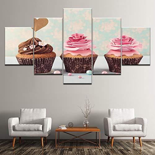 LWJPD Cuadro en Lienzo Pintura En Lienzo 3 Cupcake Helado Rosa 5 Piezas Arte De La Pared Pintura Modular Wallpapers Poster Print para Sala De Estar Home Decor 20 Inch