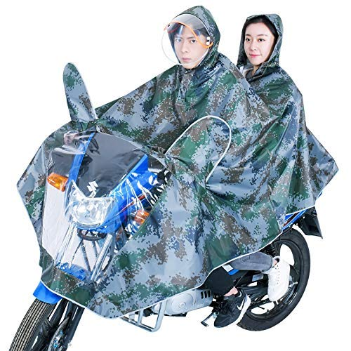 SHKUU Cubierta Universal la sombrilla la Motocicleta eléctrica, Impermeable Doble la Motocicleta Impermeable la Bicicleta eléctrica Poncho para Adultos, Conjunto Impermeable del Impermeable