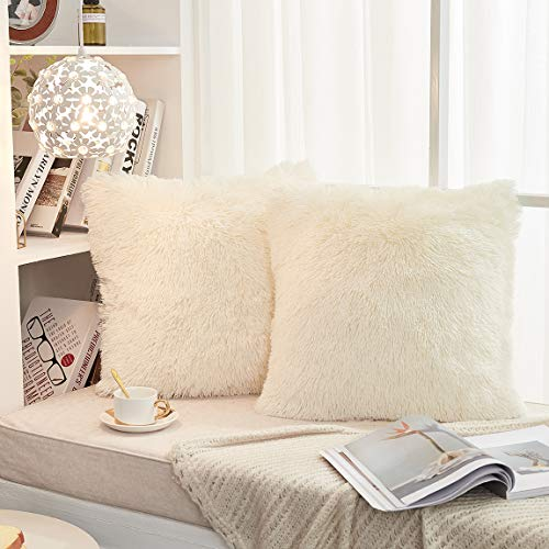 "JAUXIO Set of 2 Long Faux Fur Soild Decorative Pillowcase Fluffy Throw Pillow Cover Velvet Shaggy Plush Cushion Case for Couch (Cream, 20""X20"")"