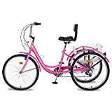 MOPHOTO Adult Tricycles 7 Speed 24/26 Inch Three Wheel Bike Cruiser Trike with Low-Step Through Frame/Large Basket/Backrest Saddle for Men, Women, Seniors (Bright Pink, 26' Tire 7 Speed)