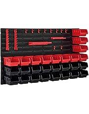 [en.casa] Estantería de Bricolaje para Pared 540 x 950 x 175 mm 45 Piezas Cajas apilables Organizador de Herramientas Portaherramientas para Guardar Sistema de cajones Negro y Rojo
