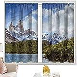 Cortinas opacas para barra de cortina Paisaje, Alpes del Sur Argentino W42 x L84 pulgadas