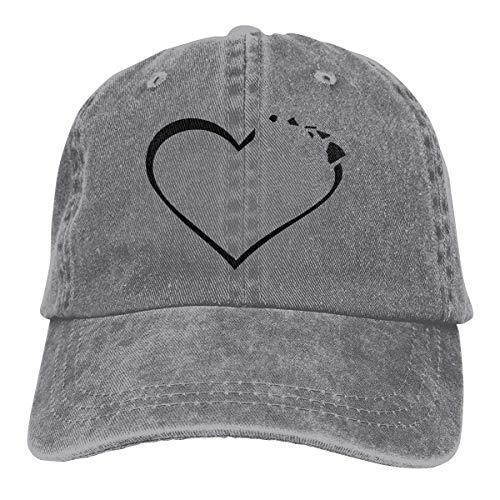 Hoswee Baseballmütze Hüte Kappe Herren Damen Baseball Cap Hut Herz Hawaii verstellbare Denim Cabbie Cap für Frauen