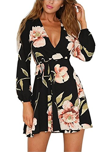 Siyinfushi Women Floral Print Sleeve Sexy Deep V-neck Tunic Top Casual Mini...
