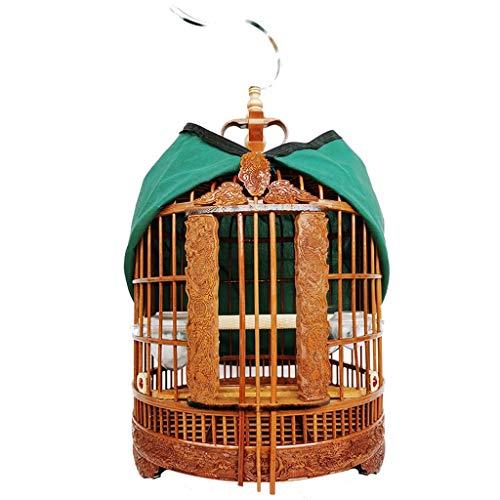 YINGZI Jaula Jaula de Pájaro Redondo Bamboo Pájaro Viaje Jaula Parrot Carrier Fácil Limpieza Portátil Transpirable Ligero Hacer y Decorar (tamaño : Green45CM)