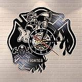 Atxbfg Campana de Bombero Departamento de Bomberos Decoración de Pared Reloj de Pared Casco de Bombero Rescate de Incendios Reloj de Pared con Registro de Vinilo Reloj de Cruz de Malta ardiente