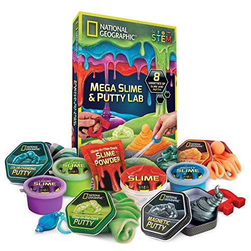NATIONAL GEOGRAPHIC Mega Slime Kit & Putty Lab - 4 Types of Amazing Slime for Girls & Boys Plus 4 Types of Putty Including Magnetic Putty