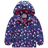 G-Kids Mädchen Wasserdicht Jacke bergangsjacke Regenjacke mit Fleecefütterung Kinder Süß Cartoon Warm Winddicht, 134-140, Blau