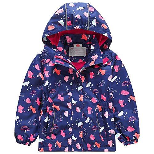 G-Kids Mädchen Wasserdicht Jacke bergangsjacke Regenjacke mit Fleecefütterung Kinder Süß Cartoon Warm Winddicht, 122-128, Blau