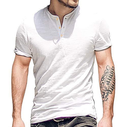 Alivebody Henley Herren-T-Shirt mit Knöpfen, langärmelig, schmale Passform, Baumwolle, Weiß-entspannt, M