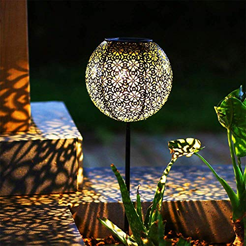 Solar Gartenlicht Outdoor Solarleuchten Garten Deko solarlampen für außen Terrasse Dekorative Metall Kunst Garten Zubehör Outdoor Dekorationen für Veranda Pathway und Hof Weihnachten (Ball)