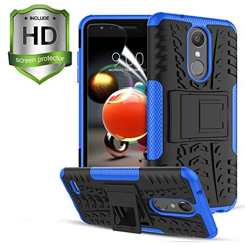 Compatible with LG Aristo 2/LG Aristo 3/Aristo 2 Plus/Aristo 3+/Rebel 4 LTE/Fortune 2/Phoenix 4/Tribute Dynasty/Zone 4/Tribute Empire/K8 Case,W/Screen Protector Kickstand Shockproof Phone Cover,Blue