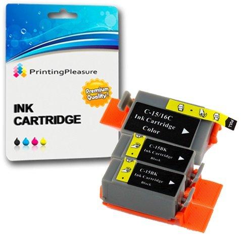 3 Compatibles BCI-15/16 Cartuchos de Tinta para Canon Pixma IP90 i70 i80 Selphy DS700 DS810 MINI220 - Negro/Color, Alta Capacidad
