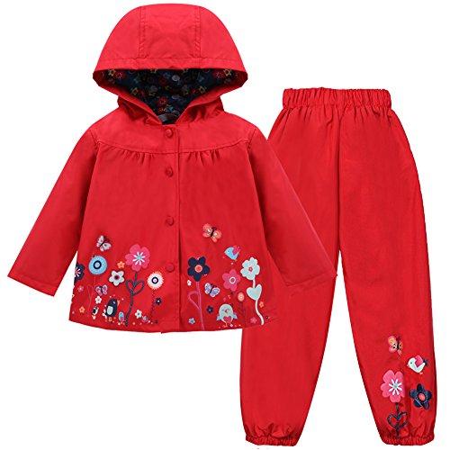 LZH Mädchen Kinder Regenjacke mit Kapuze Regenhose 2pcs Bekleidungsset, Red, 2-3 Jahre(110)