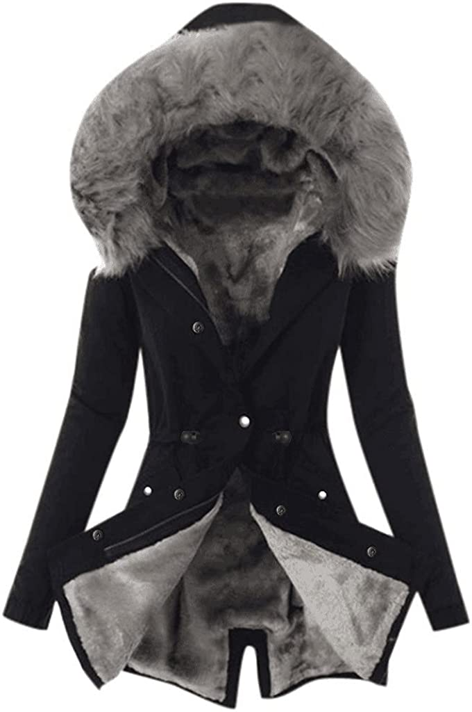 Womens Faux Fur Coat Winter Warm Parka Long Jackets Solid Color Thick Fleece Hooded Overcoat Trench Coat Qulited Jacket